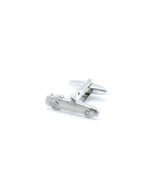 Chrome silver cufflink featuring a side profile of car without hood 0102-005