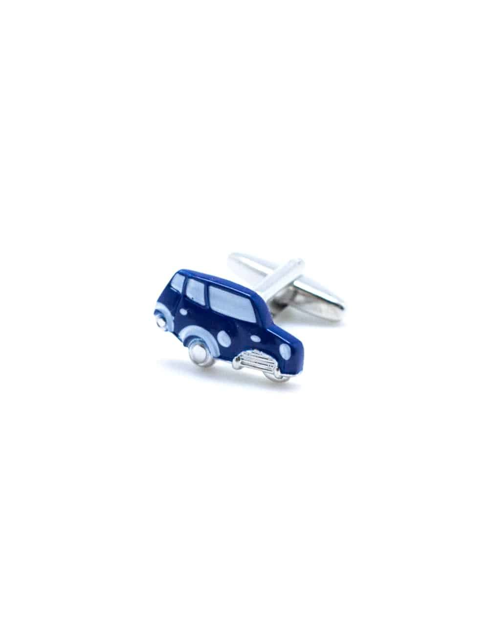 Blue colored mini car cufflink with silver chrome accents 0102-010