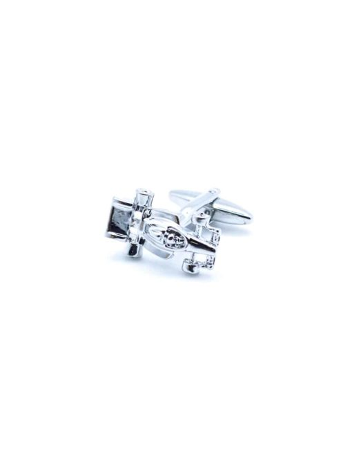 Chrome silver F1 racer car cufflink 0102-013B
