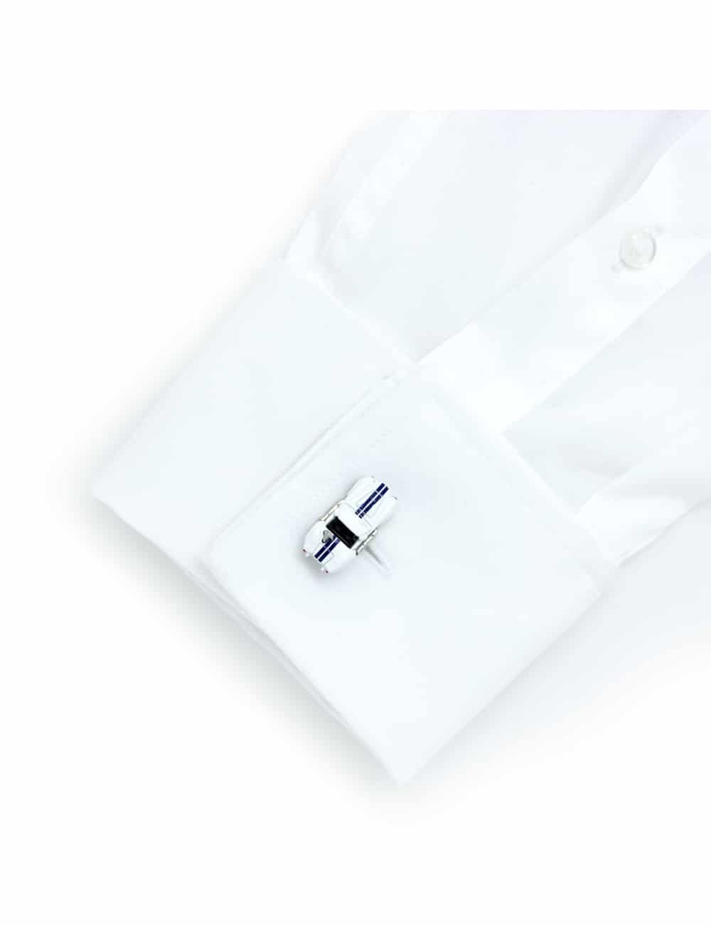 White unhooded vintage car cufflink with navy stripe accents 0102-023B