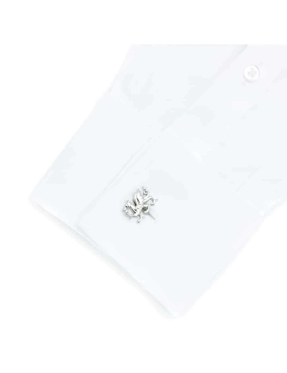 Chrome silver welsh dragon cufflink 0106-025