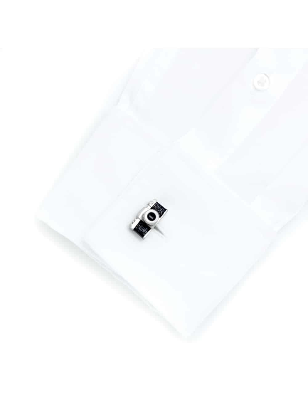 Black with brushed silver vintage camera cufflink 0109-004C