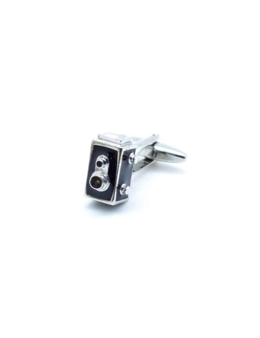 Black with matte silver antique camera cuffflink 0109-006