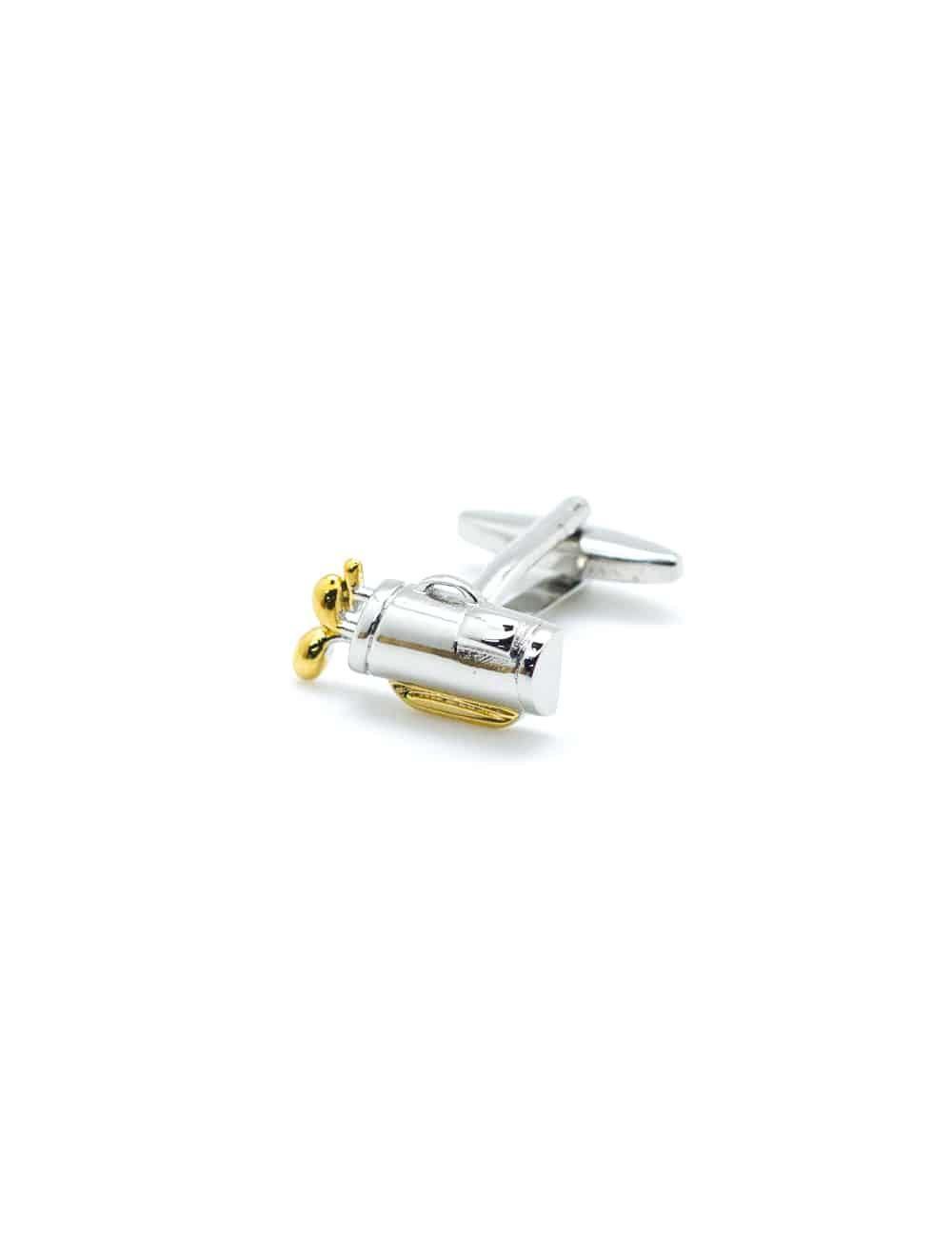 Chrome silver & gold golf set in a bag cufflink 0111-014B