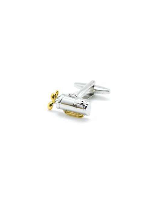 Chrome silver & gold golf set in a bag cufflink 0111-014B