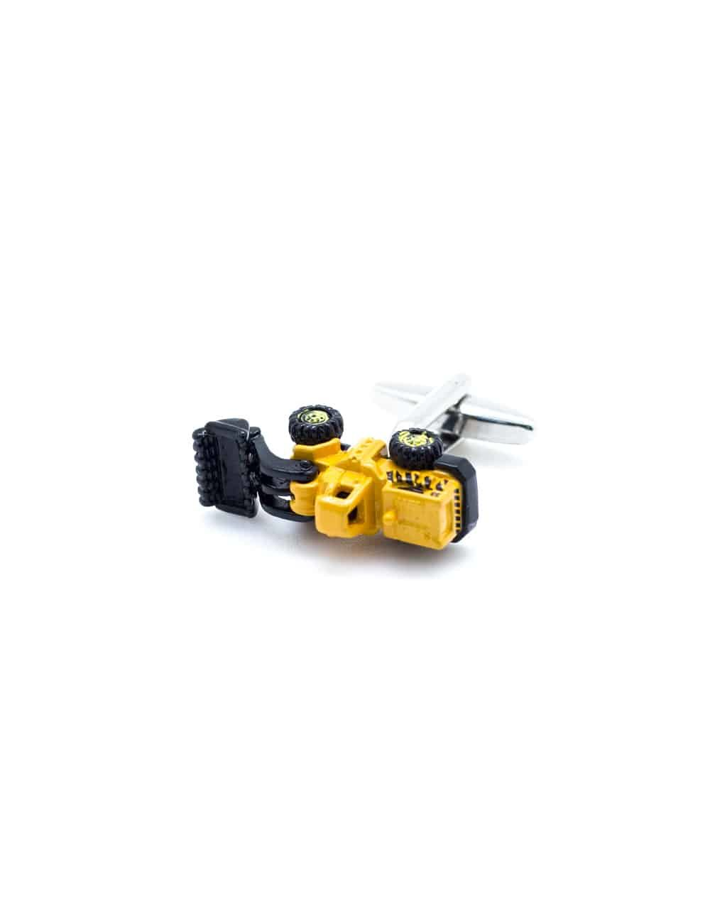 Yellow armored construction wheel loader cufflink 0114-008