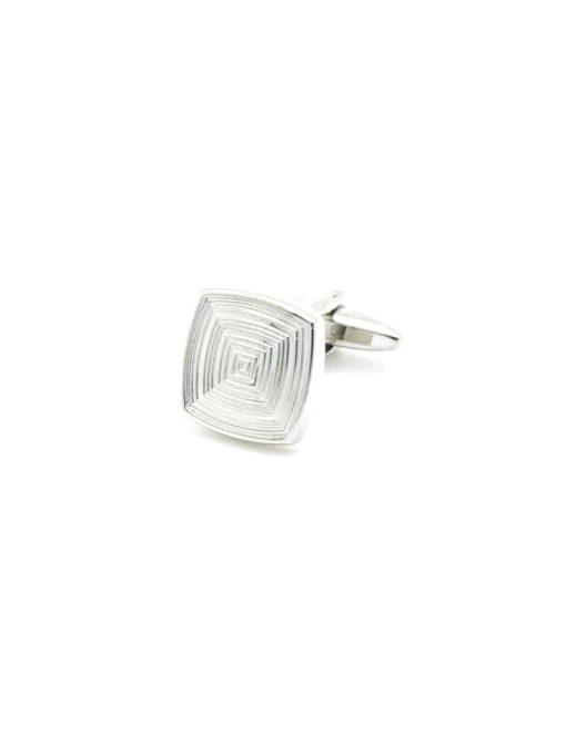 Chrome silver classic square maze cufflink 0200-016