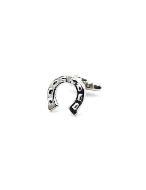 Chrome silver horse shoe cufflink C201NA-058