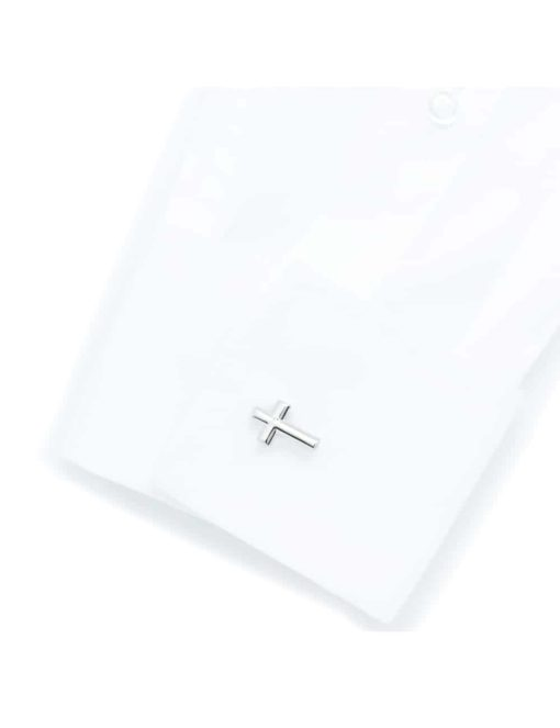 Chrome silver cross cufflink C231NF-043