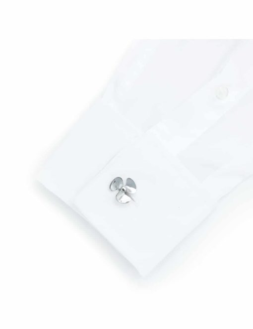 Chrome silver fan blade wings cufflink 0200-116B
