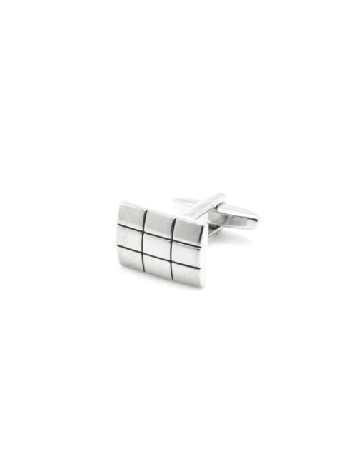 Chrome silver classic rectangle checks cufflink 0200-132