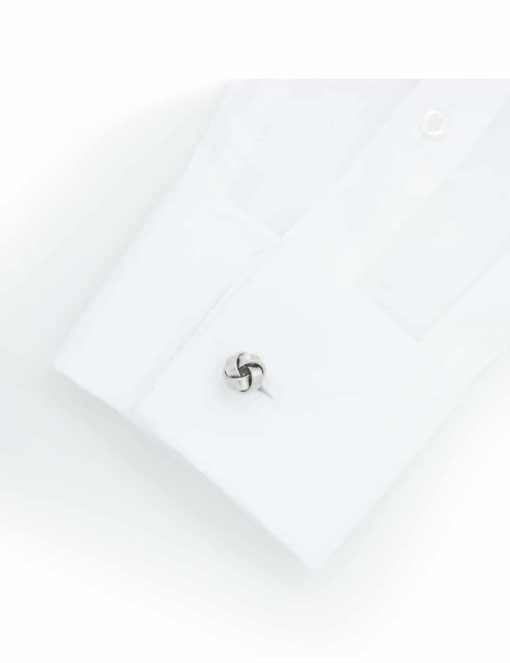 Chrome silver classic striped knot cufflink 0200-141