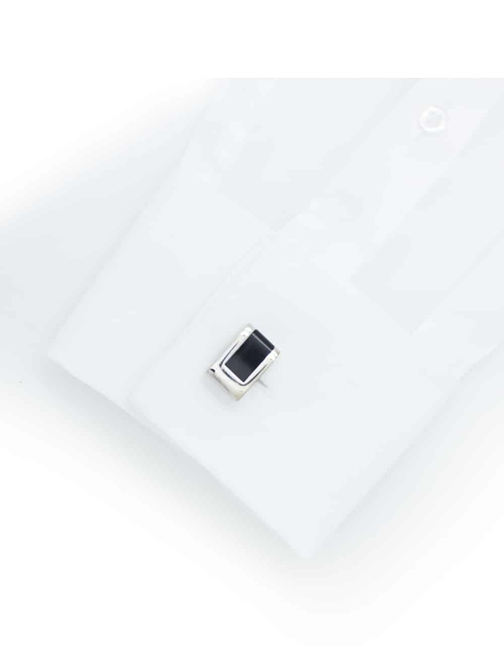 Chrome silver rectangle black enamel tile cufflink 0300-077