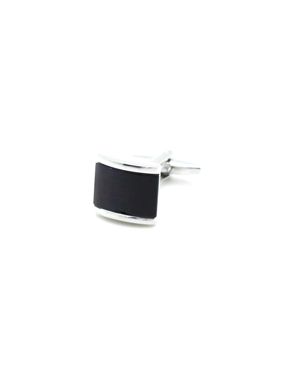 Chrome silver rectangle black enamel panel cufflink 0300-080