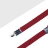 Red Herringbone Single Back Clip 3cm Suspender with Leather SPD9.3