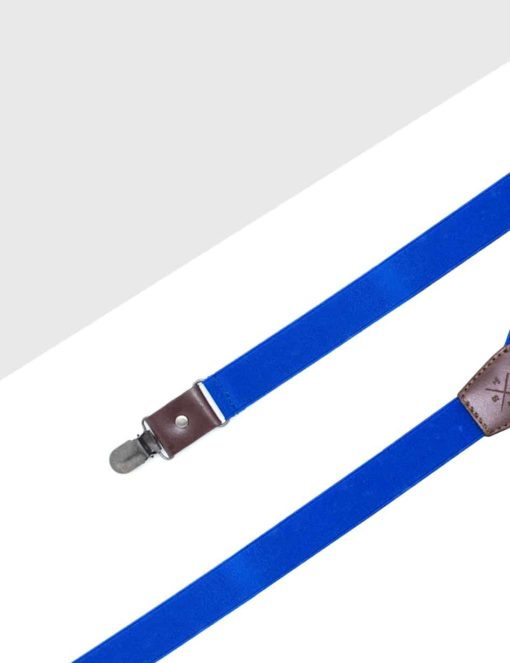 Solid Blue Single Back Clip 2.5cm Suspender with Leather SPD17.3