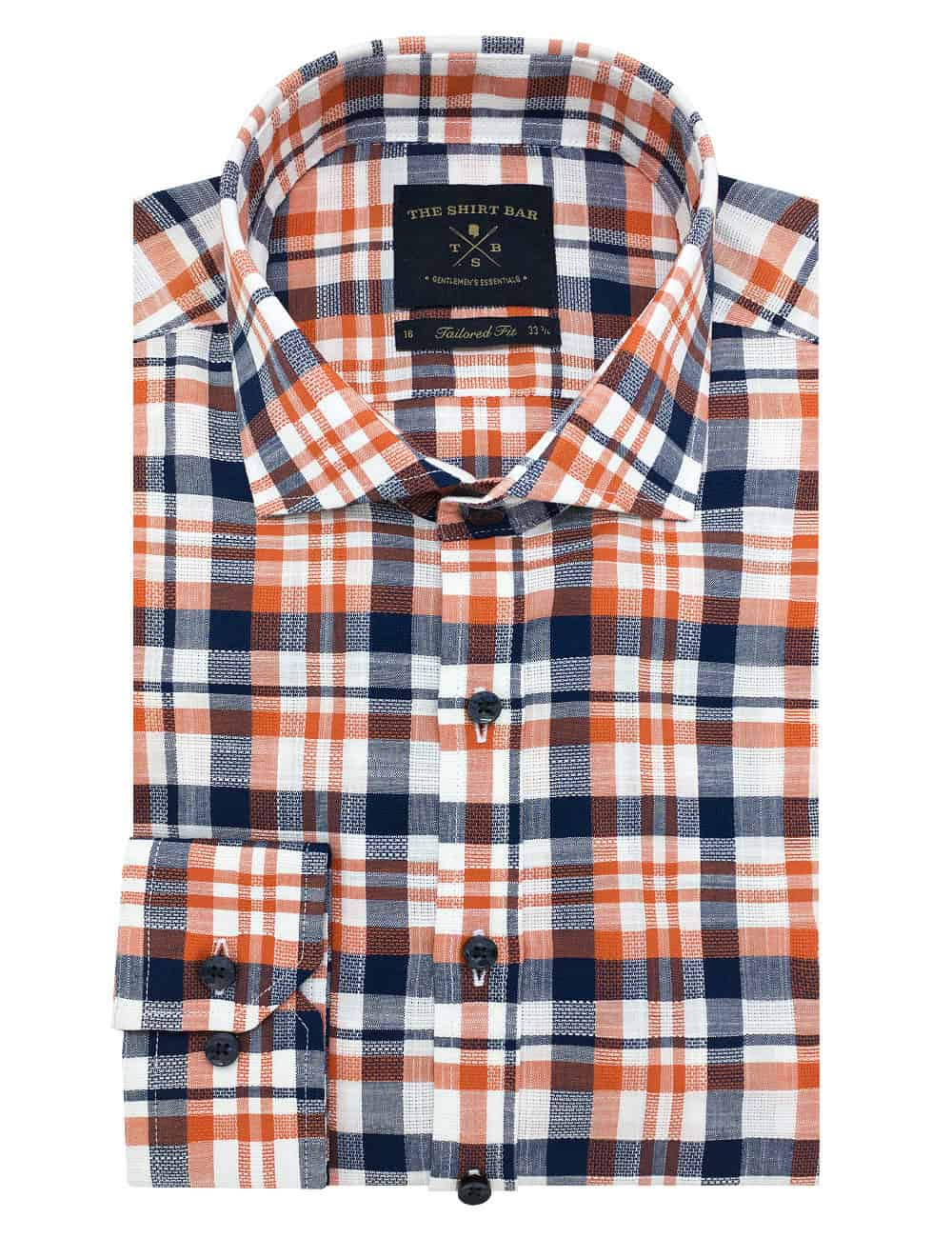 TF Navy and Orange Checks Shirt TF1A20.6