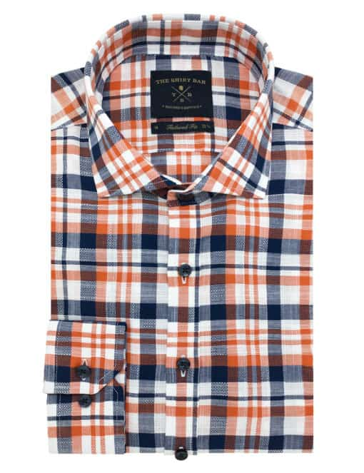 TF Navy and Orange Checks 00% Premium Cotton Long Sleeve Single Cuff Shirt TF1A20.6
