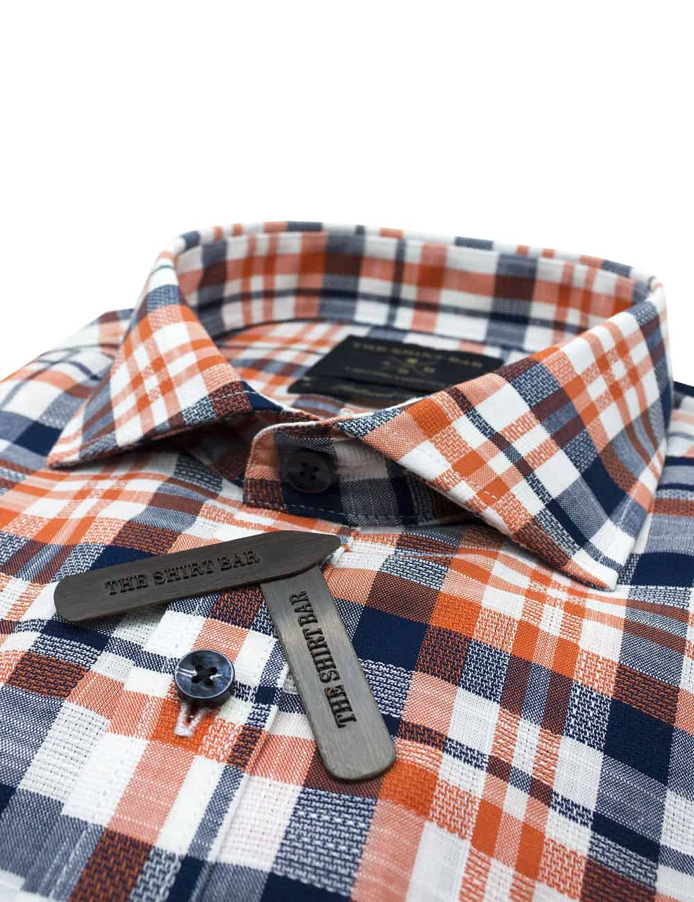 TF Navy and Orange Checks 00% Premium Cotton Long Sleeve Single Cuff Shirt TF1A20.6