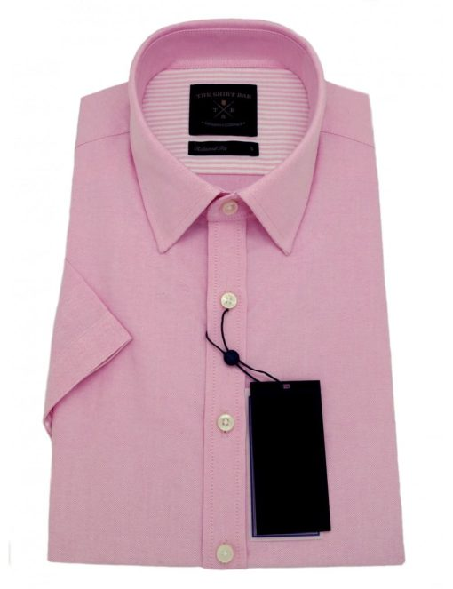 Relaxed Fit Solid Pink Oxford 100% Cotton Double Ply Short Sleeve Shirt RF8SNB16.6