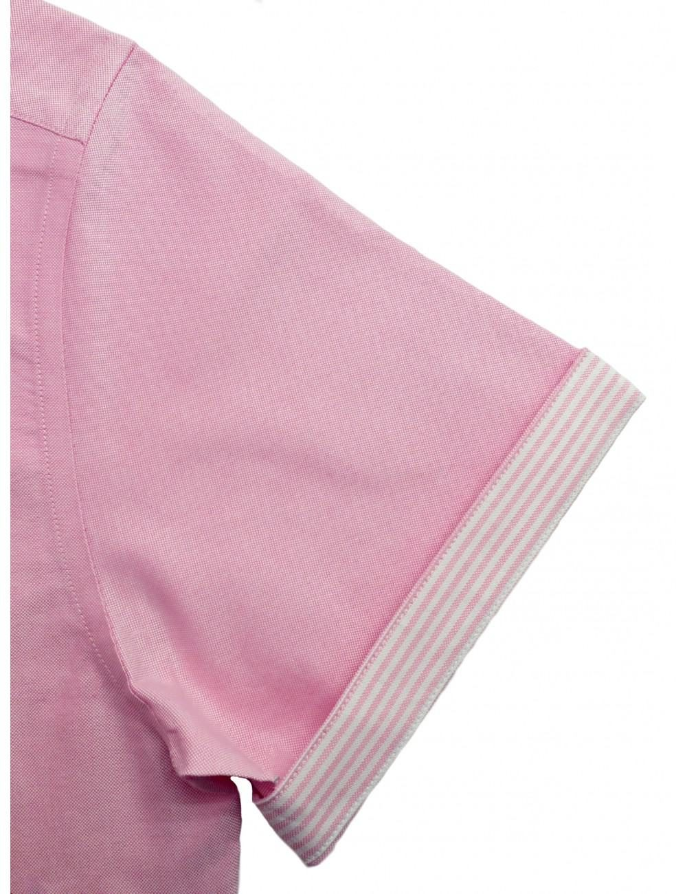 RF Solid Pink Oxford 100% Cotton Double Ply Short Sleeve Shirt RF8SNB16.6