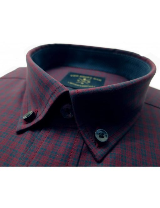 Relaxed Fit Red with Navy Checks 100% Cotton Short Sleeve Shirt RF9S1.6