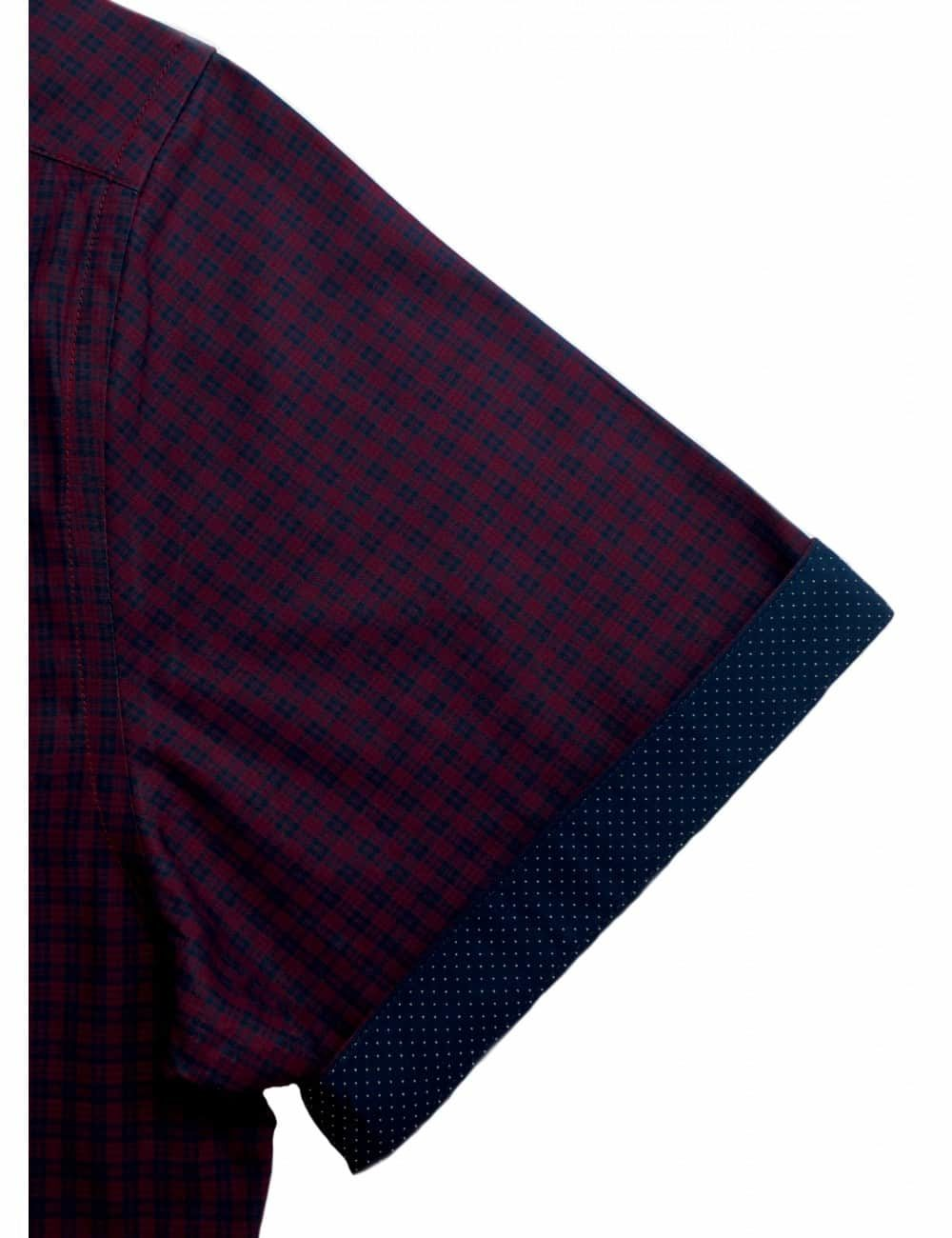 RF Red with Navy Checks 100% Cotton Short Sleeve Shirt RF9S1.6