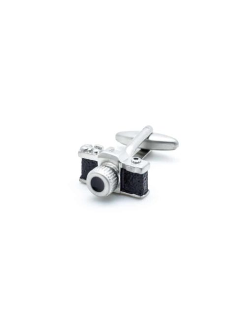 Black with brushed silver vintage camera cufflink 0109-004C