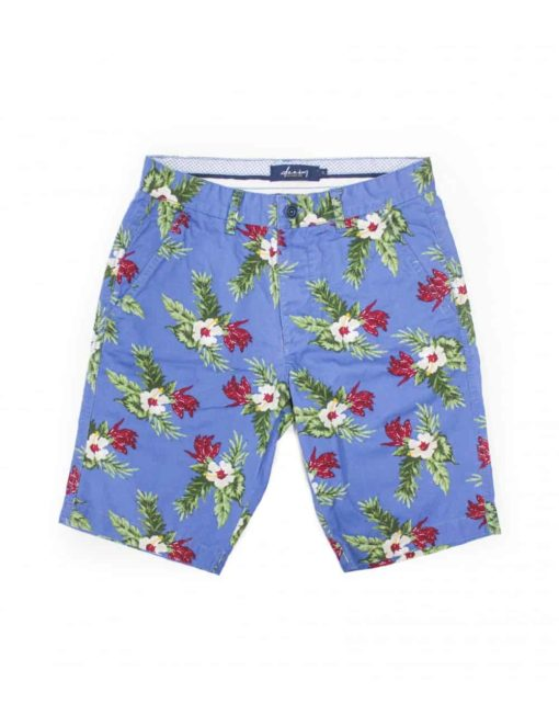 Blue Tropical Floral Printed Chino Shorts SA2.1