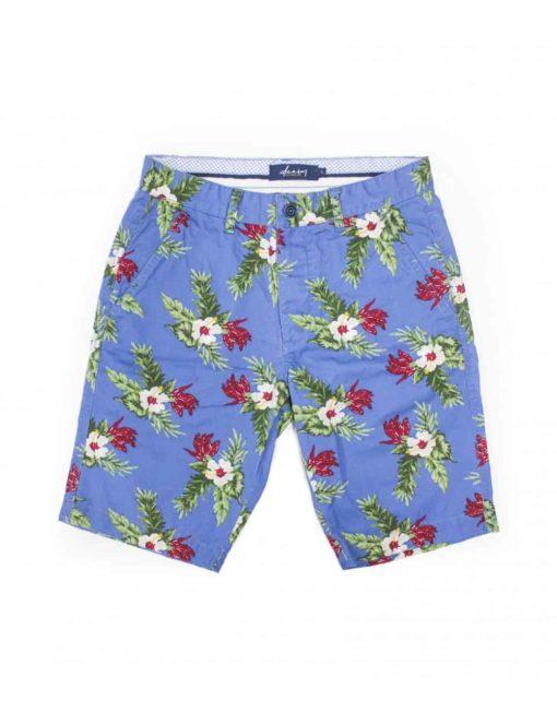 Blue Tropical Floral Printed Chino Shorts SA2.1