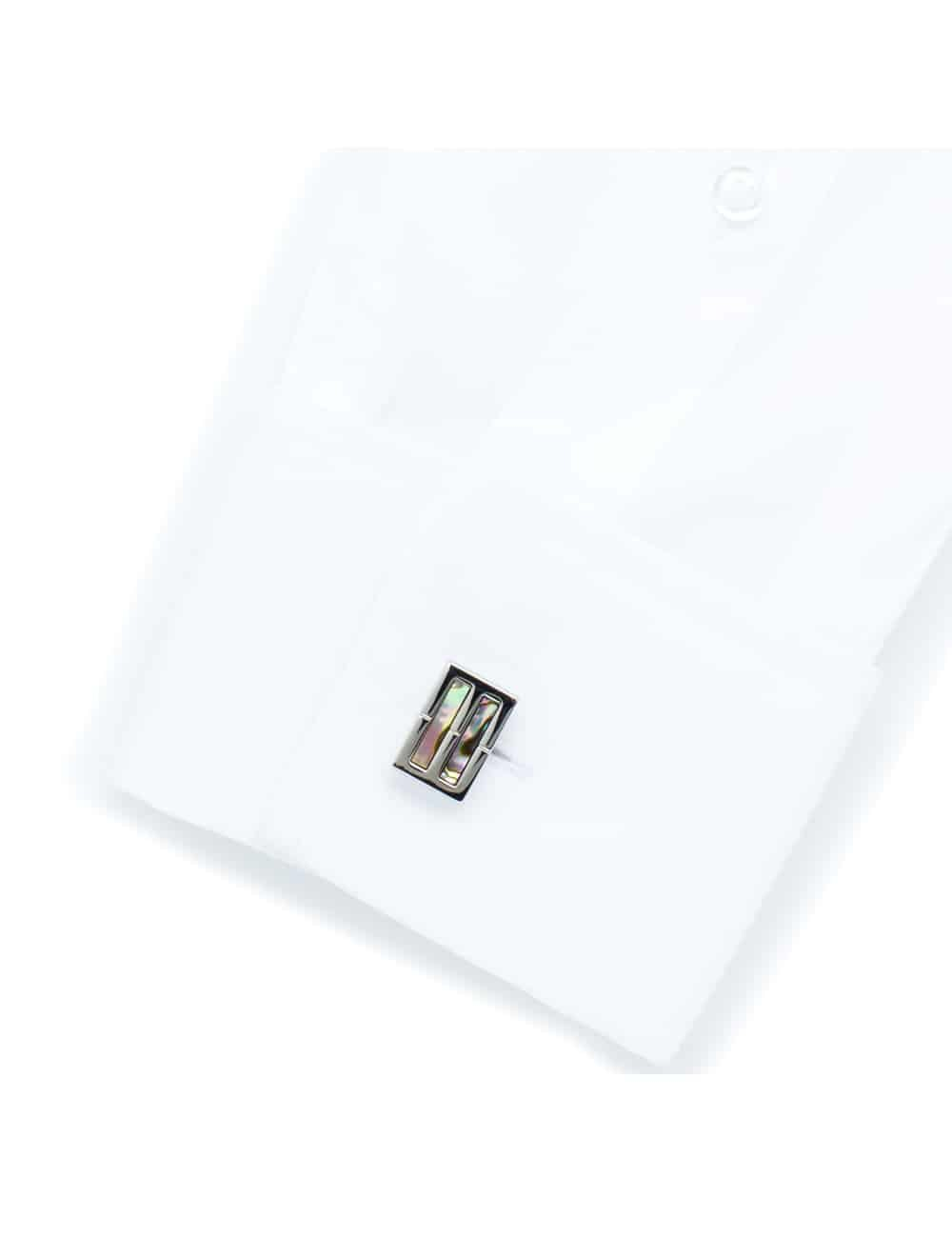 Chrome rhodium double band cufflink with rectangular oyster shell accents C131FP-032