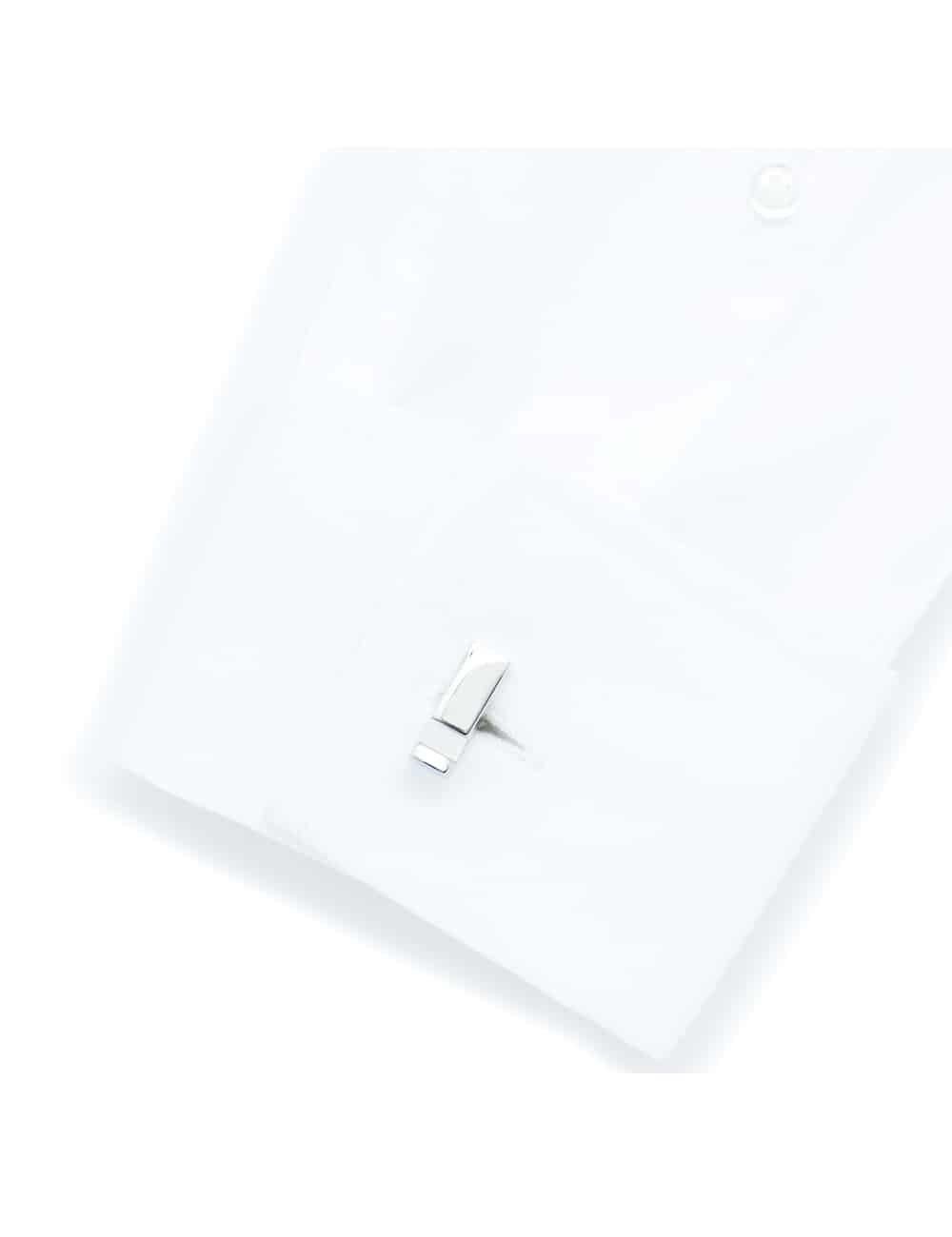 Chrome silver cuboid bar cufflink with white pearl C131FP-044