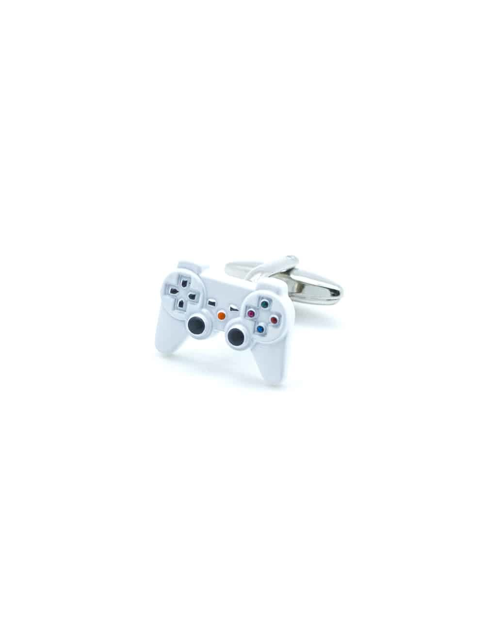Glossy white game console controller cufflink with detailed buttons C211NH-005B