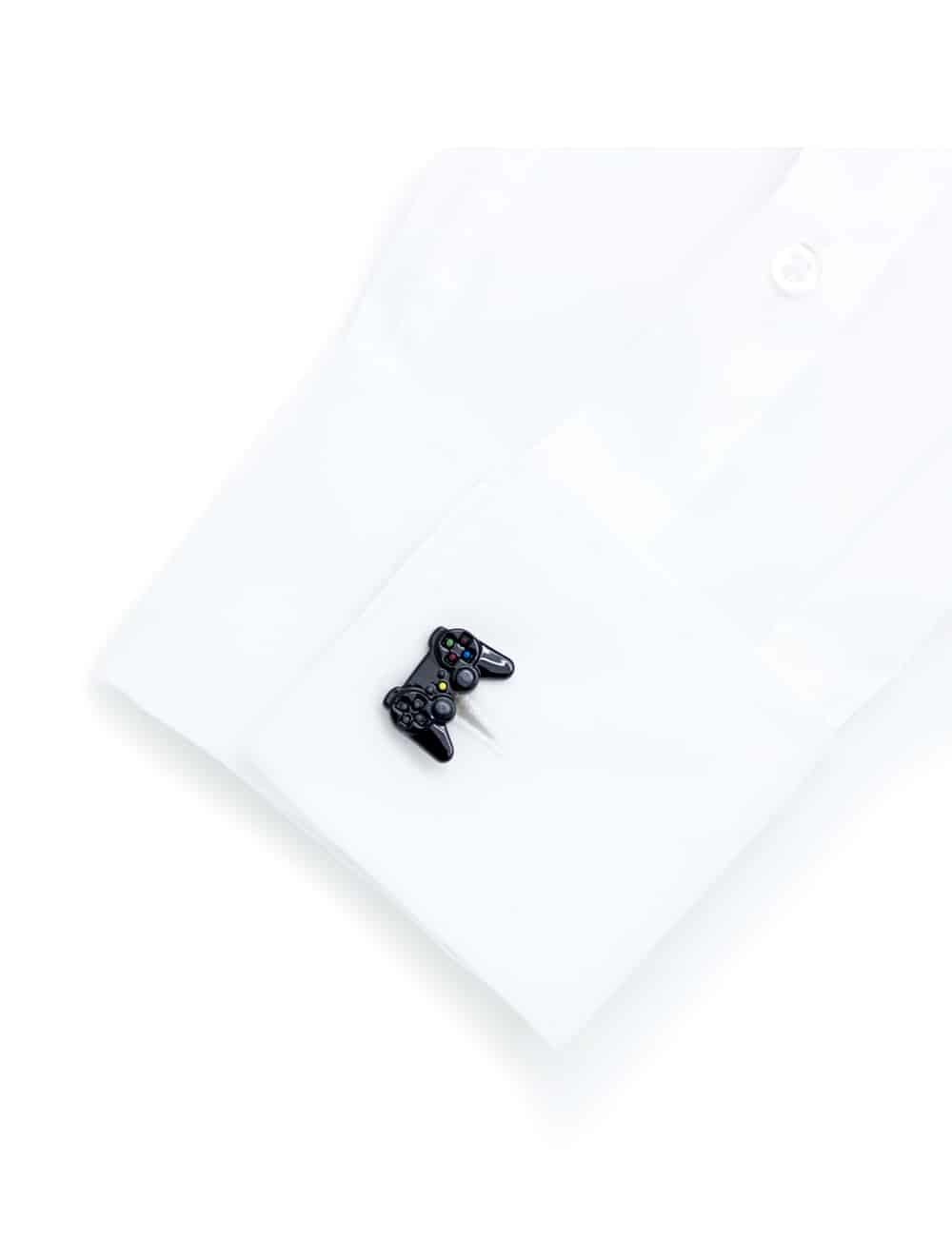 Glossy black game console controller cufflink with detailed buttons C211NH-005C
