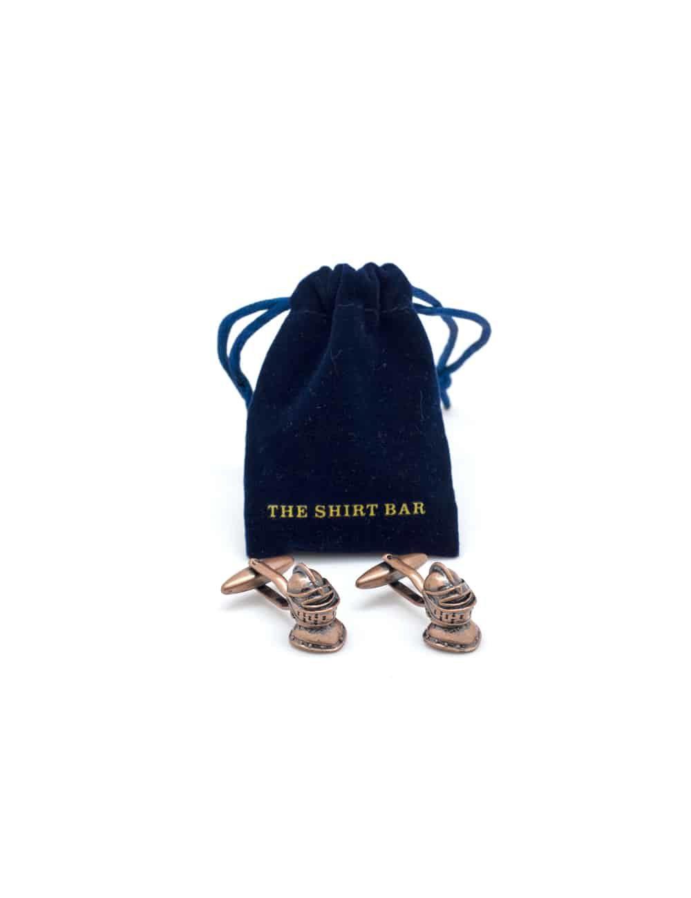 Matte bronze medieval soldier mask cufflink C263NF-013