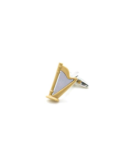 Glossy beige harp with black and white strings cufflink C212NH-015