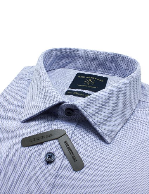 Blue Chevron 2 Ply Pima Cotton Modern / Classic Fit Long Sleeve Shirt - CF2A21.17