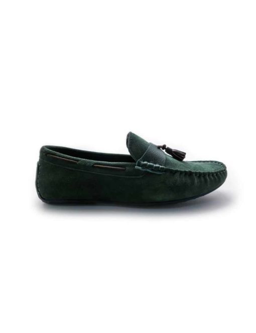 Green Leather Tassel Loafers F10D7.1
