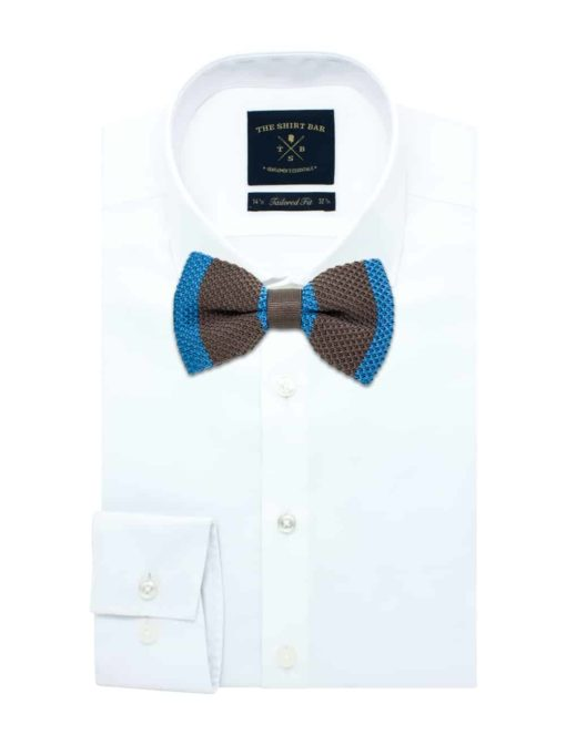 Brown and Blue Stripes Knitted Bowtie KBT10.6
