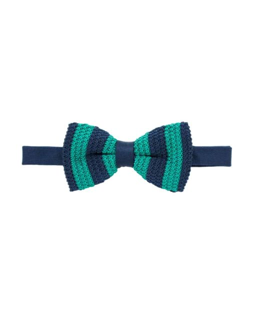 Navy and Green Stripes Knitted Bowtie KBT12.6