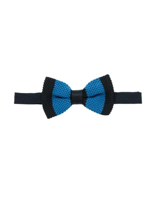 Black and Blue Stripes Knitted Bowtie KBT9.6
