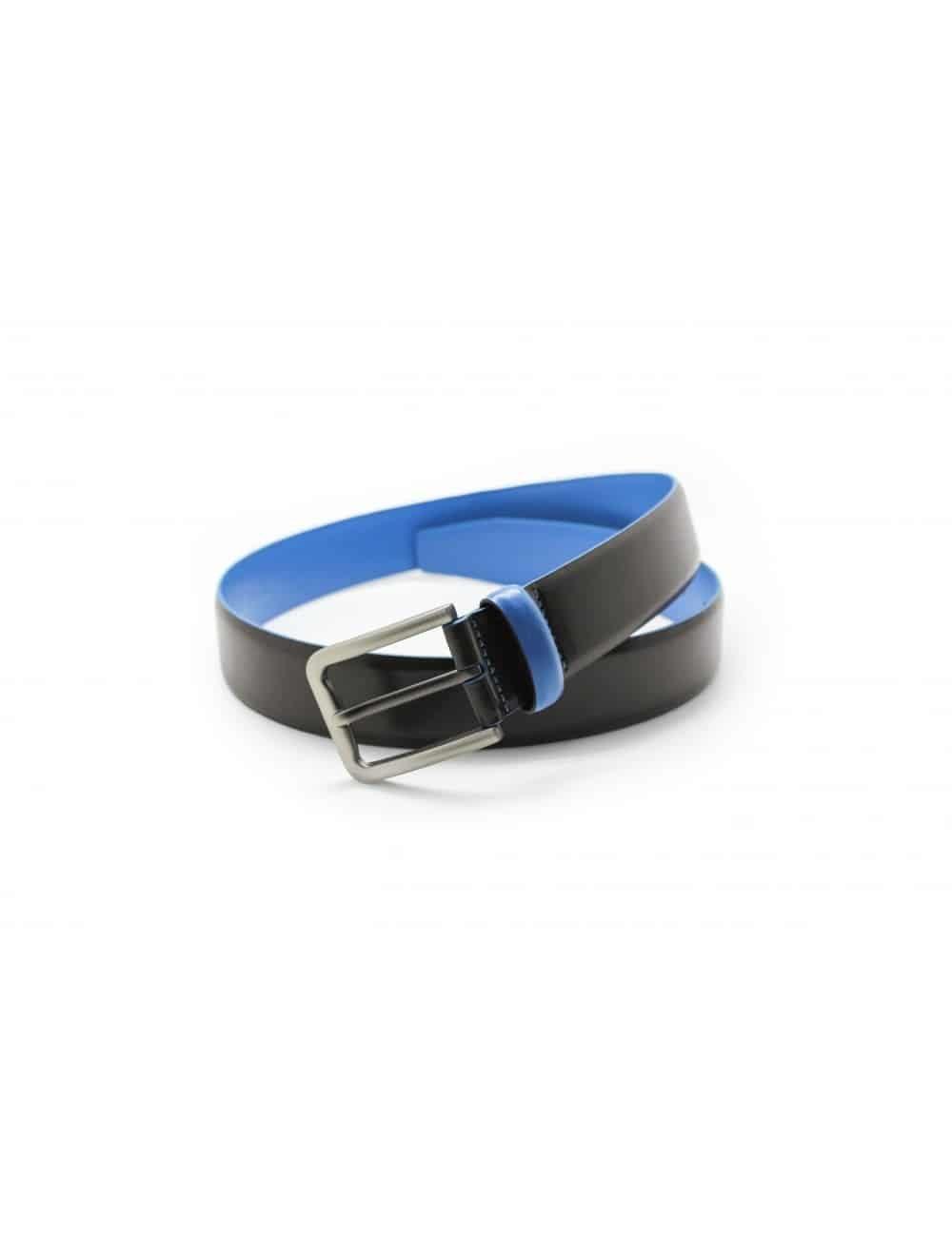 Dark Brown & Blue Leather Belt LB2.5