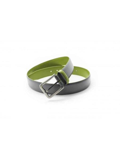 Grey & Lime Green Leather Belt LB5.5