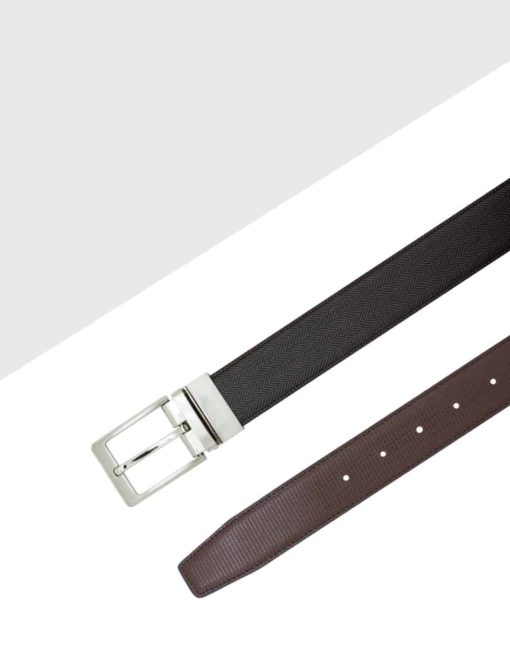 Brown Textured Reversible Leather Belt LBR10.6