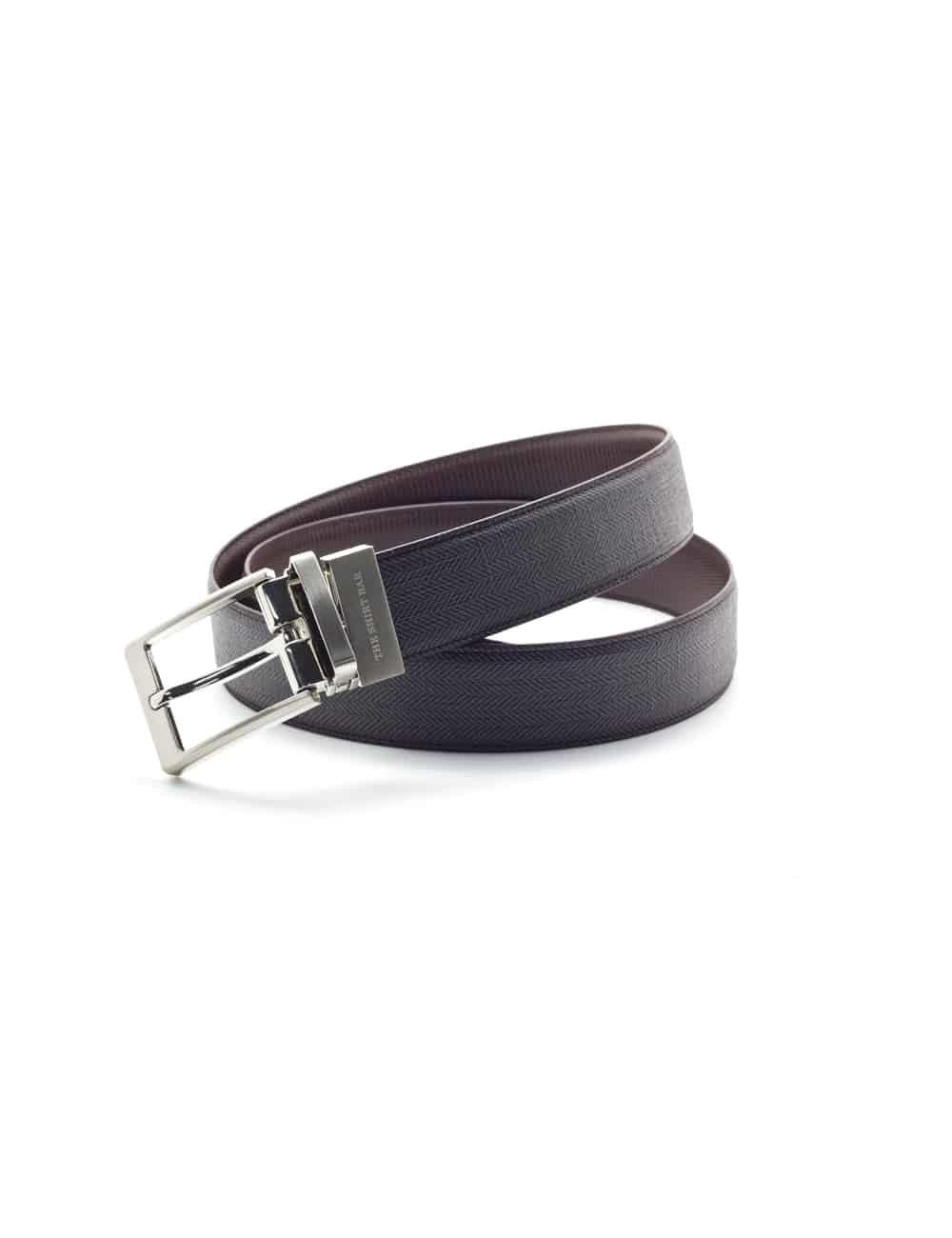 Brown Textured Reversible Leather Belt LBR10.6