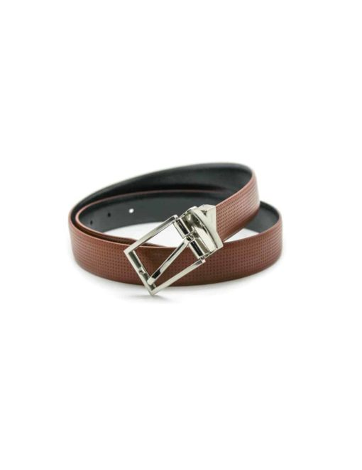 Amber Brown / Navy Reversible Leather Belt LBR11.5