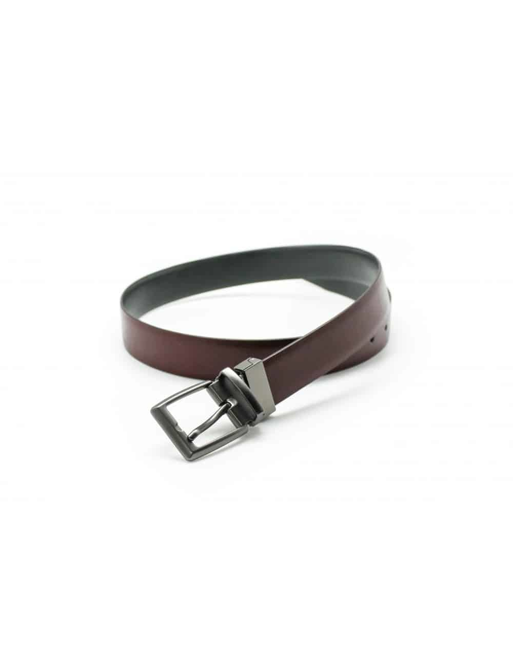 Wine / Dark Grey Reversible Leather Belt LBR12.5