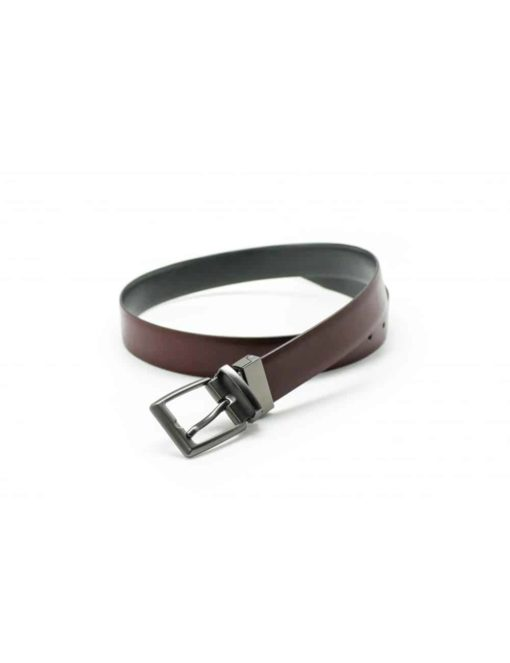 Wine / Dark Grey Reversible Leather Belt LBR12.5