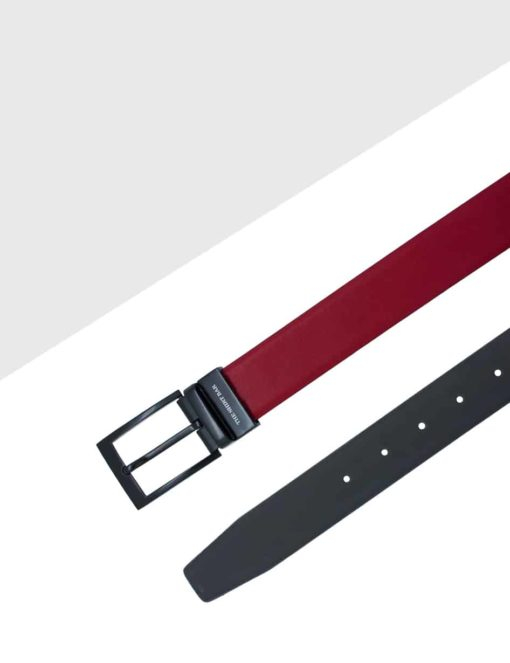 Maroon / Dark Grey Reversible Leather Belt LBR12.6