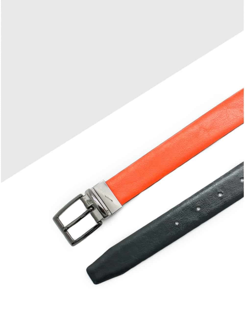 Orange / Navy Reversible Leather Belt LBR13.5